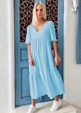 Нежное, очаровательное, стильное ярусное платье макси в стиле бохо