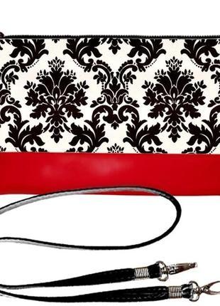Красно-черный клатч стильный принт эко-кожа украина