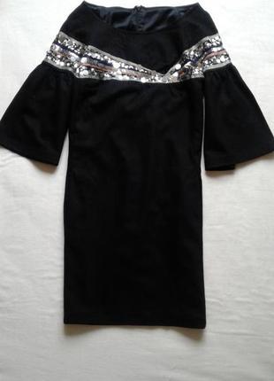 Шикарное черное платье прямого кроя рatrizia рepe, украшено пайетками/ рукав - колокол