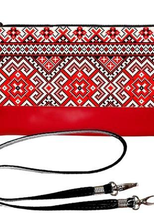 Сумка-клатч с принтом вышиванка красно-черный орнамент
