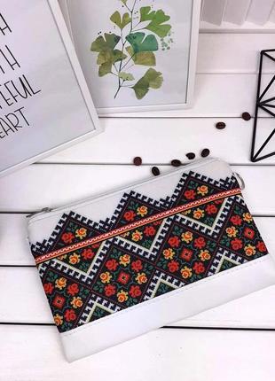 Роскошный клатч принт вышивка украинский орнамент