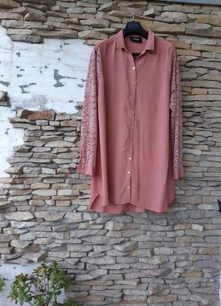 Стильное вискозное с кружевными рукавами платье рубашка большого размера