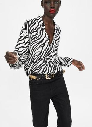 Блузка рубашка oversize  принт зебра zara woman premium denim collection romania