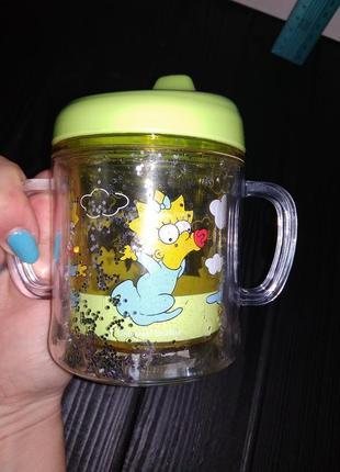 Поильник чашка кружка непроливайка симпсоны для ребенка