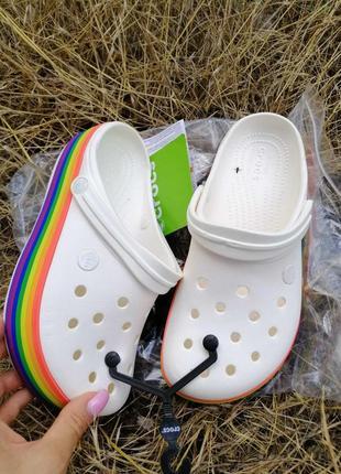 Crocs crocband platform rainbow кроксы оригинал платформы