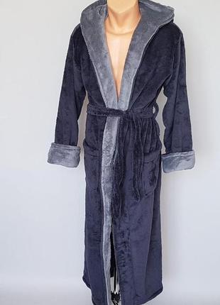 Мужской махровый серый халат. турецкий халат длинный софт махра. есть размеры и цвета