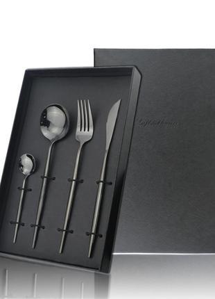 Набор 4шт столовые приборы  нож вилка столовая ложка чайная