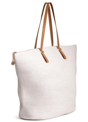 Белая пляжная сумка шоппер тонкие ручки вместительная на плечо