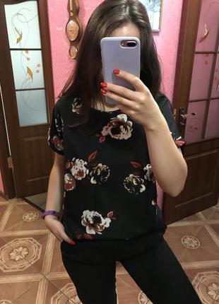 Шёлковая футболка блуза atmosphere (англия) 40 разм очень крутая