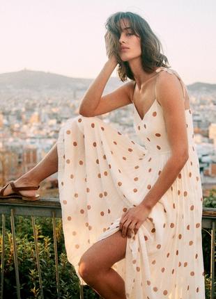☘️ необычайно нежное элегантное платье, плиссированный низ, платье в горошек ☘️