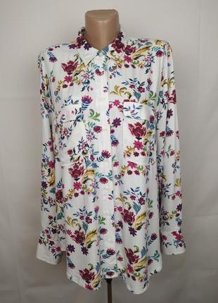 Блуза натуральная стильная в цветочный принт marks&spencer uk 16/44/xl