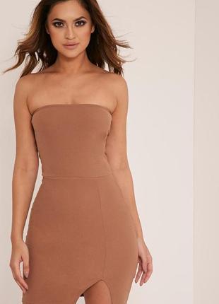 Красивое карамельное мини платье