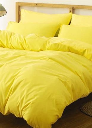 Однотоннное постельное белье желтое. жовта постільна білизна