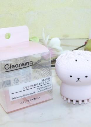 Силиконовая щеточка etude house my beauty tool exfoliating jellyfish silicone brush