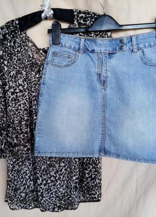 Юбка джинсовая new look 915 голубая базовая блузка кофточка