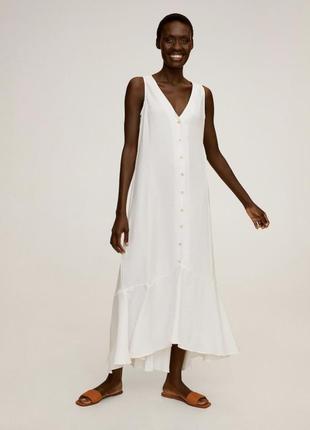 Платье миди длинное прямого кроя белое вискоза mango оригинал