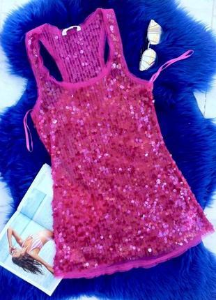 Гламурная прозрачная маечка в паетках .розовая майка-боксёрка. топ. блуза.