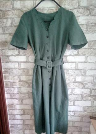 Натуральное платье под пояс винтаж