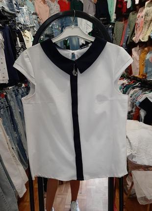 Стильная блузка с синим воротничком