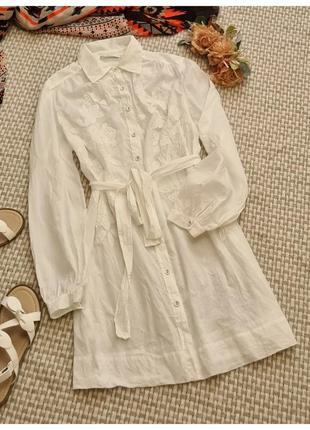 Белая длинная натуральная блуза с вышивкой marks&spencer/блуза с пояском на пуговицах