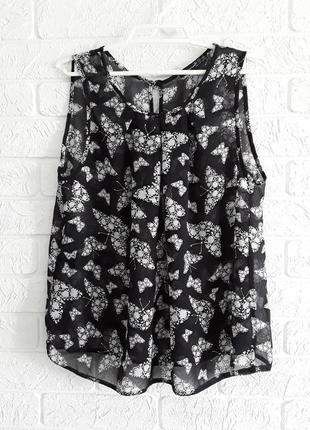 Шикарная блузка - маечка из тончайшей ткани в принт - бабочки.