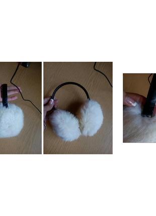 Меховые наушники с кролика