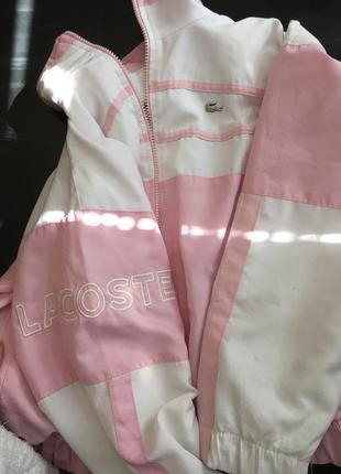 Розовая мастерка ветровка спортивная lacoste