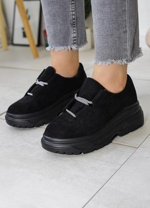 Эко замша ботинки на платформе