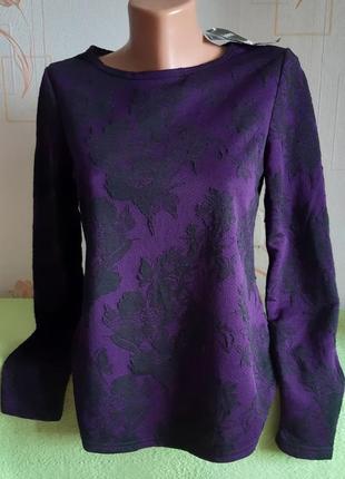 Красивая кофточка/ пуловер фиолетового цвета с красивой цветочной вышивкой janina с биркой