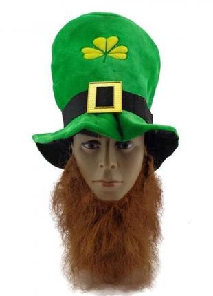Зеленая шляпа цилиндр лепрекона с бородой