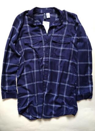 Синяя рубашка в клетку удлиненная длинный рукав