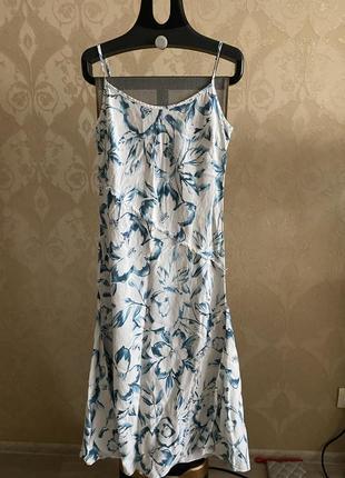 1plus1=3🎁🎁🎁 льняное платье миди в цветочный принт per una