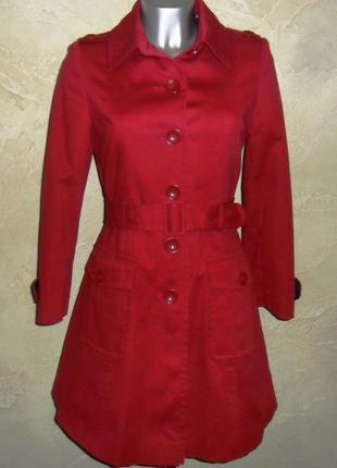 Элегантное красное хлопковое  приталенное пальто плащ тренч debenhams s-m 10