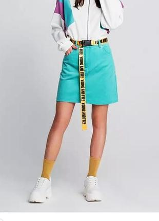 Мятная юбка  джинсовая цвет  тиффани