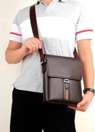 Классическая мужская сумка, экокожа, коричневая, черная
