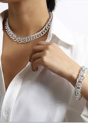 Набор цепочка широкая браслет браслетик наборчик серебро