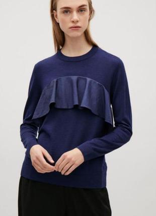 Синий джемпер из шерсти с воланом cos , s-m