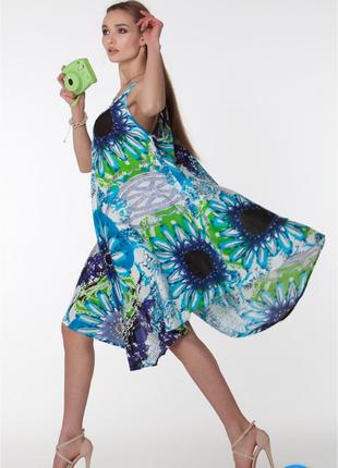 Платье - сарафан в синей голубых тонах вискоза