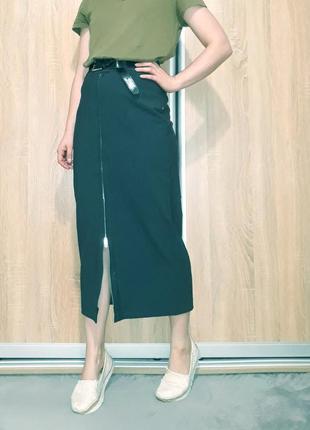 Крутая серая юбка-миди с шерстью на высокой посадке с молнией bill tornade