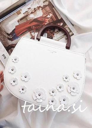 Оригинальная сумочка david jones cm5166 белый клатч с аппликацией сумка полукруг