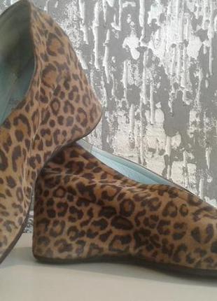 Замшевые туфли леопард 100% кожа лайка стелька 23 см
