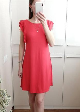 Летнее красное платье из вискозы с рюшами 🌺