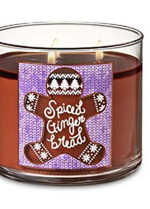 Свеча ароматизированная bath and body works spice ginger bread 3-wick candle 411 г