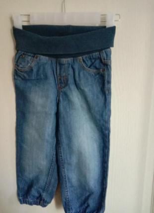 Плотные джинсы джогеры на эластичном поясн