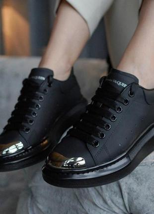 Alexander mcqueen кожаные кроссовки маквин черного цвета (36-40)💜