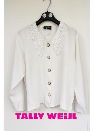Tally weijl белая блуза с кружевным воротничком
