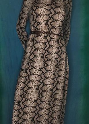 🔥-60% платье zara l новое 100 % хлопок принт под кожу рептилии