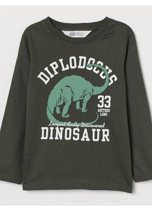 H&m кофта лонгслив с динозавром для мальчика  на 2-4 года