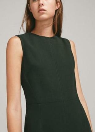 Темно зелёного цвета силуэтное платье,, massimo dutti