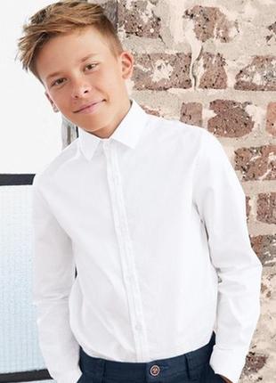😉1+1=3 фирменная белая рубашка сорочка с длинным рукавом marks&spencer на 11 - 12 лет
